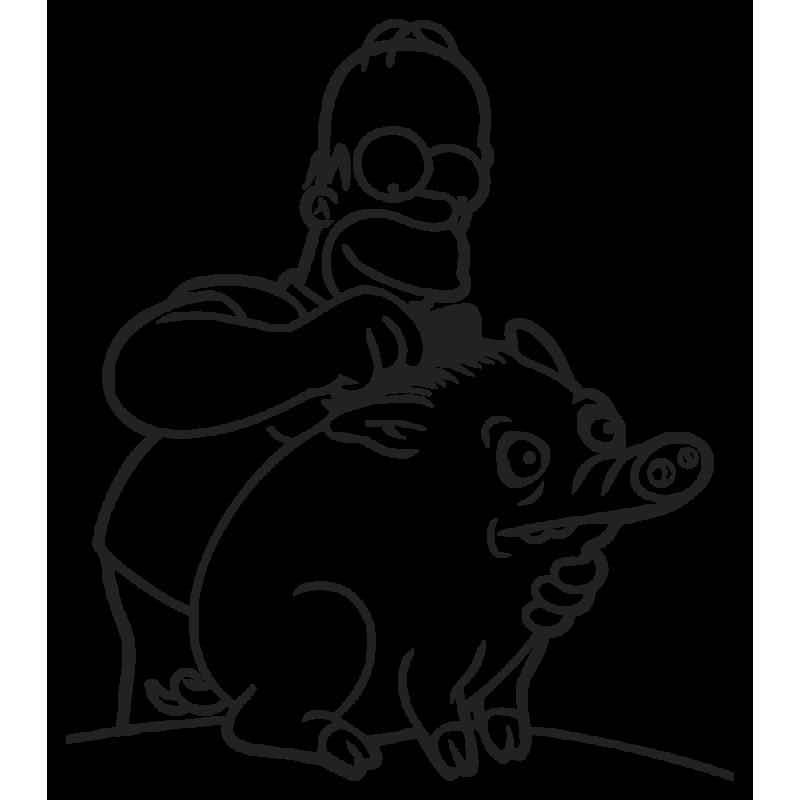 Sticker  Homer Spider Cochon