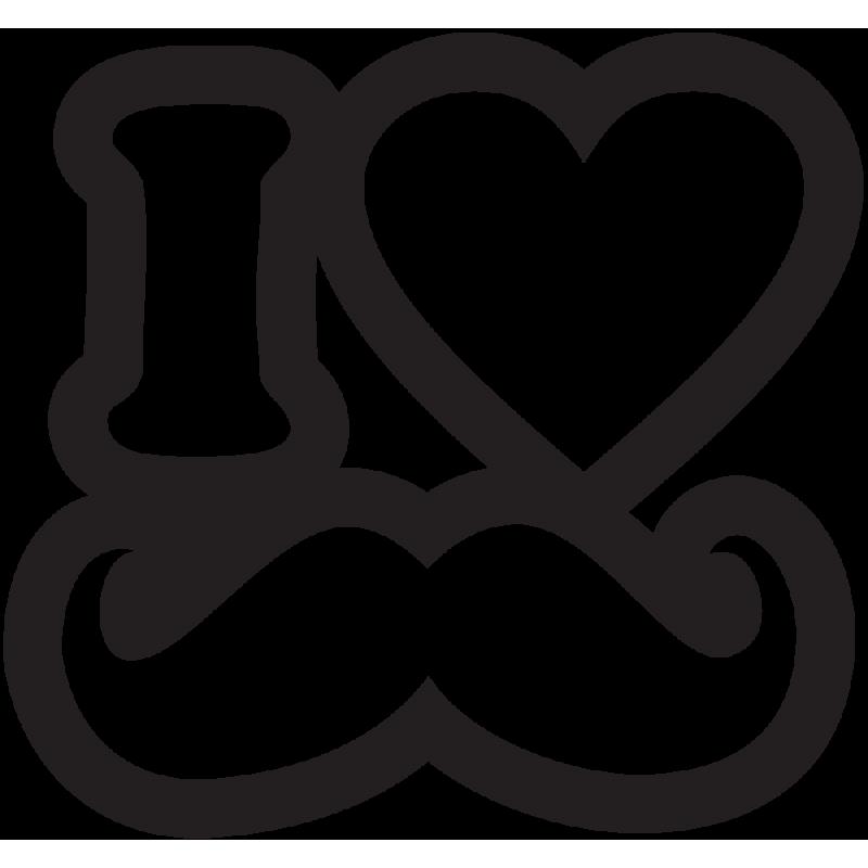Sticker Jdm I Love Mustach